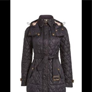 -BURBERRY 😍 BELTED QUILTED CHECK COAT JACKET